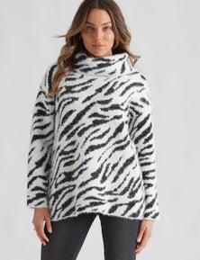 Rockmans Long Sleeve Fuzzy Cowl Knit