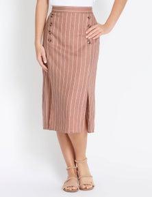 Rockmans Printed Linen Button Detail Skirt