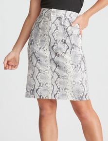 Rockmans Knee Printed Denim Skirt