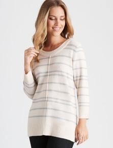 Rockmans 3/4 Sleeve Stripe Button Detail Knit
