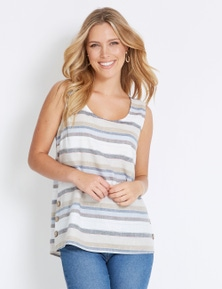 Rockmans Sleeveless Linen Stripe Top