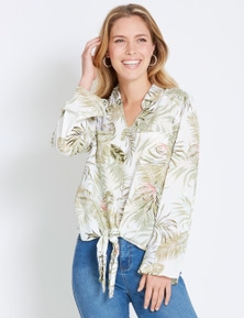 Rockmans 3/4 Sleeve Pretty Palm Blouse