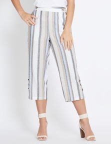 Rockmans Crop Linen Pant With Button Detail
