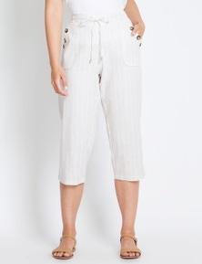 Rockmans Crop Cargo Stripe Linen Pant