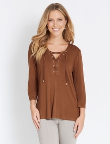 Rockmans Elbow Sleeve Lace Up Shirt Style Top
