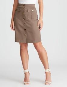 Rockmans Knee Length Denim Utility Skirt