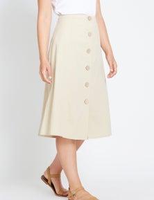 Table Eight Button Through Midi Skirt