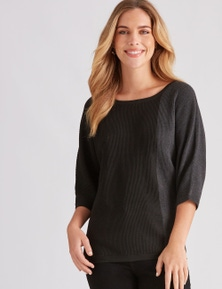 Rockmans 3/4 Sleeve Relaxed Ottoman Stitch Knit