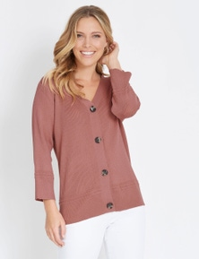 Rockmans 3/4 Sleeve Ribbed Cardi