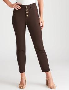 Rockmans 7/8 Length Button Front Henna Jean