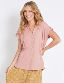 Rockmans Short Sleeve Shirt Style Textured Top