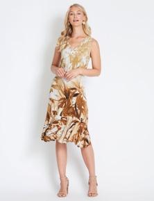 Rockmans Sleeveless Palm Midi Dress