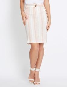 Rockmans Knee Length Stripe Linen Cargo Skirt