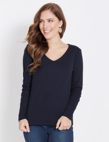 Rockmans Long Sleeve Double Front Tee