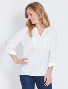 Rockmans 3/4 Sleeve Linen Shirt