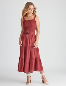 Rockmans Sleeveless Shirred Midi Dress