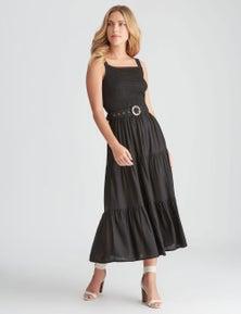 Rockmans Sleeveless Shirred Midi Dress