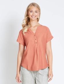 Rockmans Extended Sleeve Linen Shirt