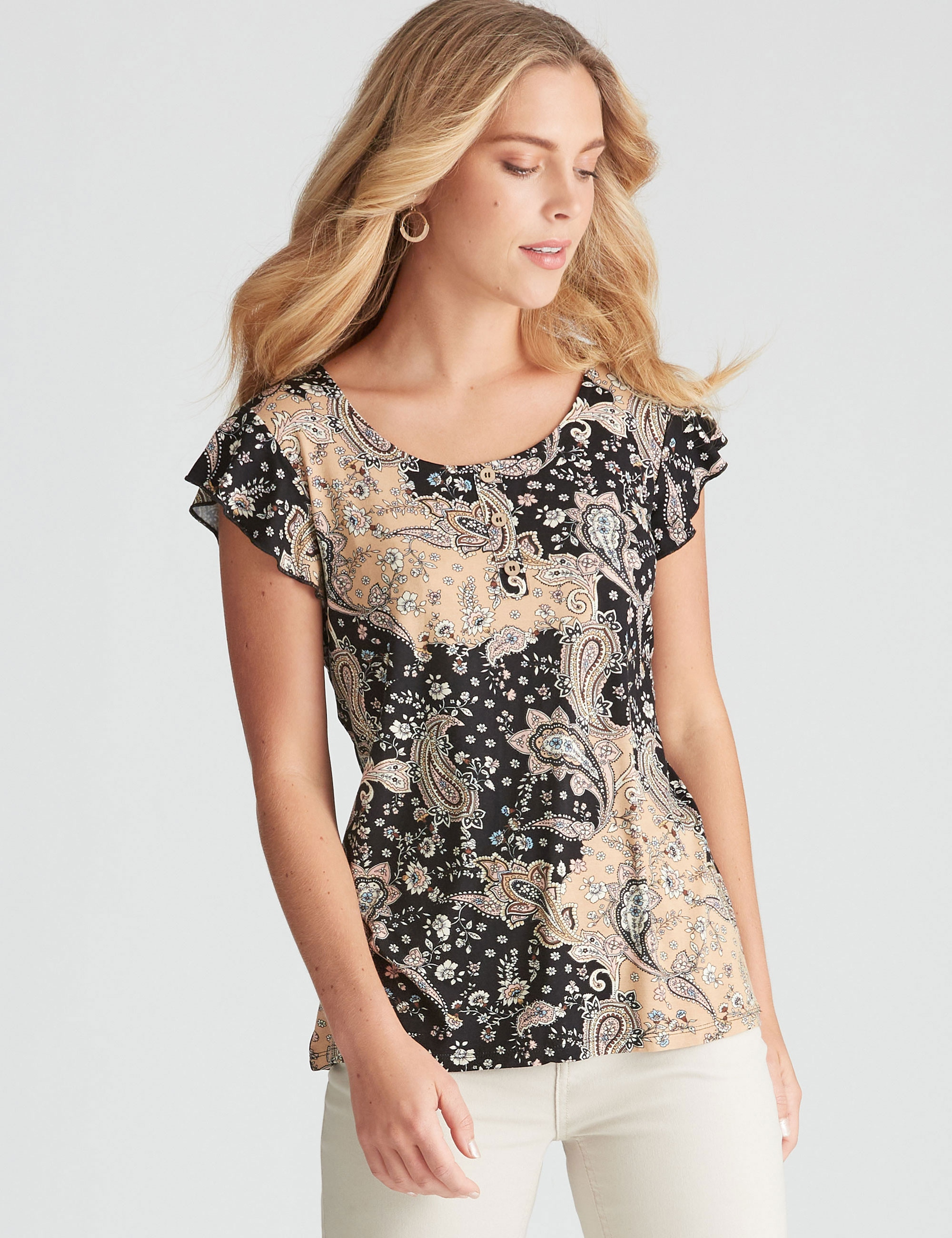 Rockmans Flutter Sleeve Tropical Printed Top - Paisley - M