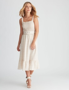 Rockmans Sleeveless Shirred Bodice Midi Dress