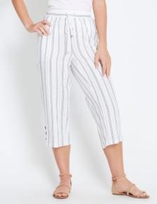 Rockmans Crop Multi Stripe Linen Pant