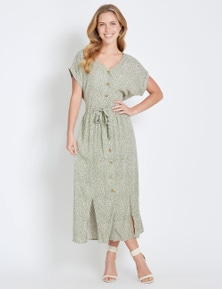 Rockmans Extended Sleeve Button Midi Dress