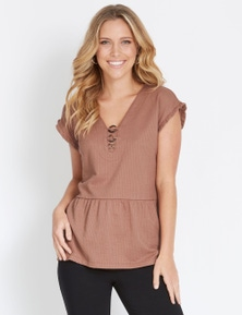 Rockmans Short Sleeve Textured Ring Detail Top
