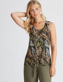 Rockmans Sleeveless Tie Front Tropical Top
