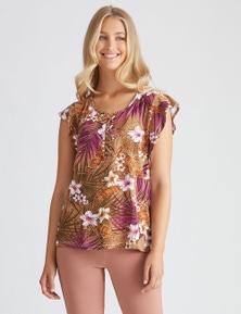 Rockmans Flutter Sleeve Lace-upDetail Top