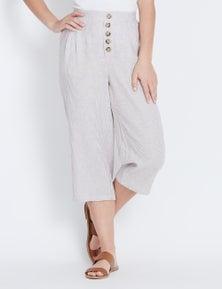 Rockmans Crop Button Detail Stripe Linen Pant