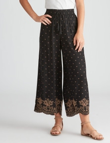 Rockmans Crop Embroidered Pant