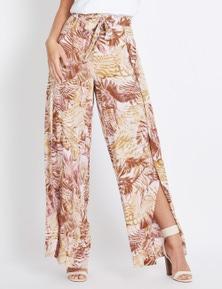 Rockmans Full Length Wide Leg Wrap Print Pant