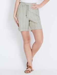 Rockmans Stripe Linen Short