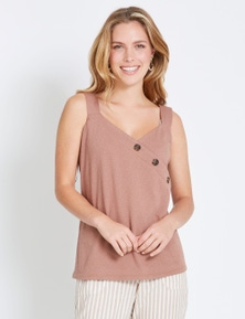 Rockmans Sleeveless Asymmetric Button Cami
