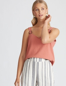 Rockmans Sleeveless Ring Detail Textured Cami