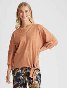 Rockmans 3/4 Sleeve Relaxed Tie Front Top