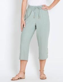 Rockmans Crop Linen Zip Pant