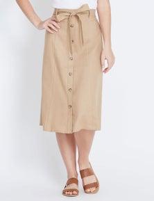 Rockmans Midi Belted Linen Belted Skirt