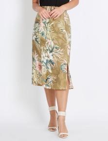 Rockmans Midi Belted Linen Skirt