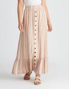 Rockmans Maxi Textured Stripe Skirt