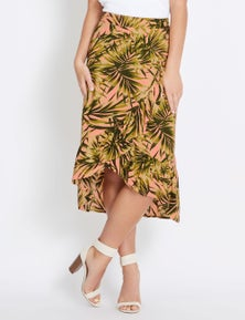 Rockmans Side Button Printed Ruffle Skirt