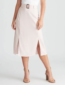 Rockmans Belted Linen Midi Skirt