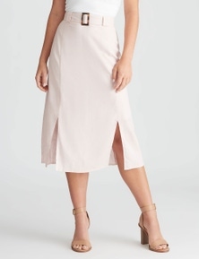 Rockmans Belted Linen Midi Skirt