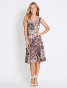 Rockmans Sleeveless Pintuck Midi Dress