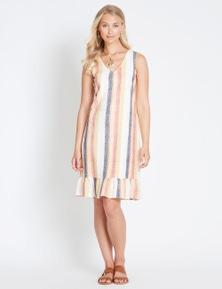 Rockmans Sleeveless Ruffle Hem Stripe Dress