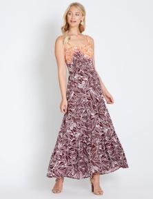Rockmans Strappy Shirred Tierred Maxi Dress