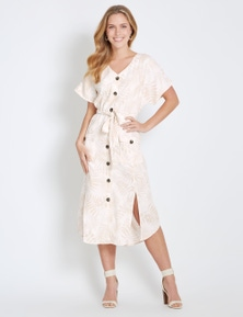 Rockmans Extended Sleeve Button Through Midi Dress