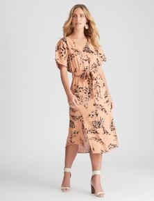 Rockmans Extended Sleeve Button Through Midi Dress