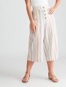 Rockmans Crop Stripe Linen Pant