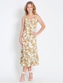 Rockmans Sleeveless Pintuck Linen Midi Dress